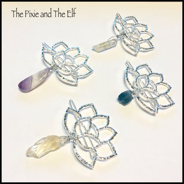 Image of Lotus hair clip with crystal 💎