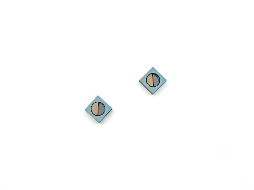 Image of Frame stud Earrings - Pastel blue