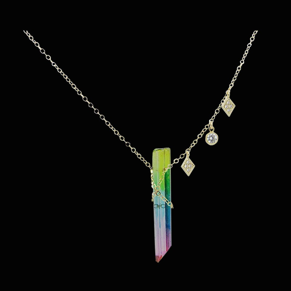 Image of Rainbow Crystal Quartz & Topaz Necklace