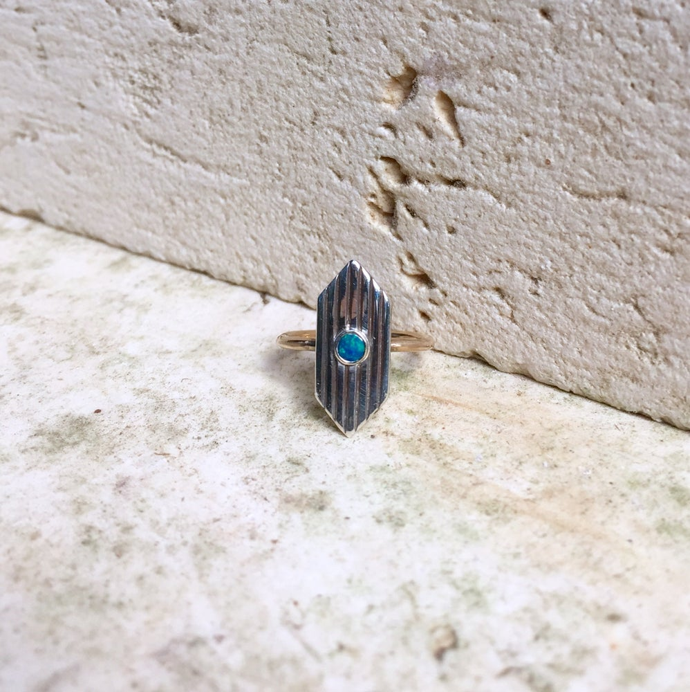 Image of Two tone sterling silver and 14k gold fill opal shield ring