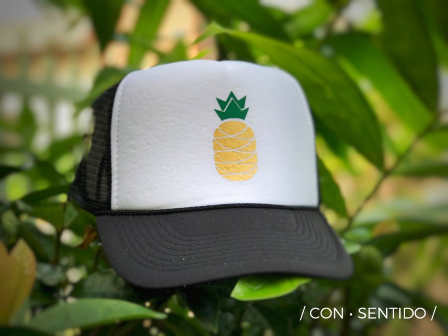 Image of Black White Pineapple Trucker Hat 🍍