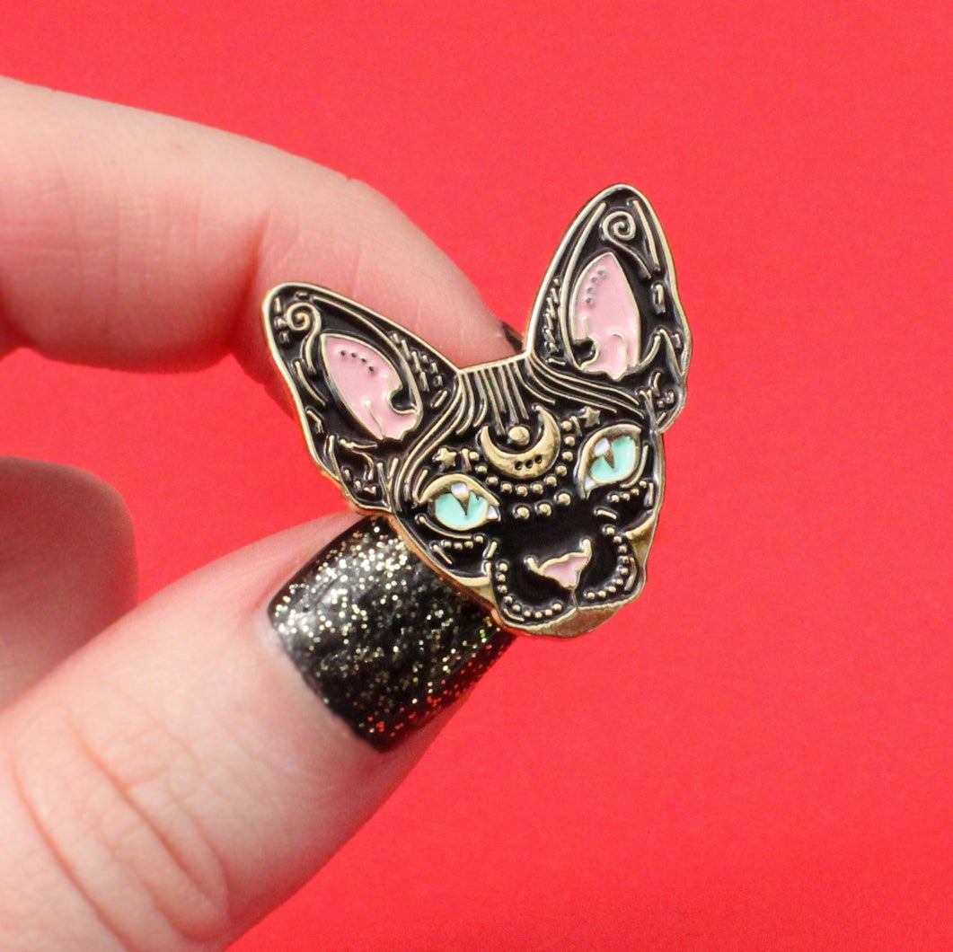 Image of Mystical Sphynx cat enamel pin, cat pin - BLACK & GOLD - badge - lapel pin