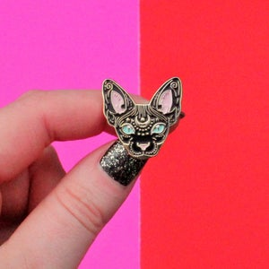 Image of Mystical Sphynx cat enamel pin, cat pin - BLACK & GOLD - badge - lapel pin