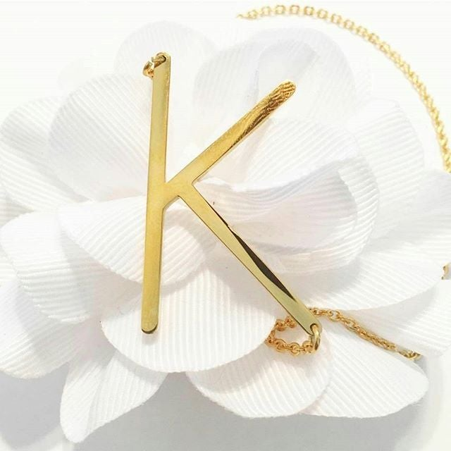 Image of PRE Order Gold Staple Initial Necklace
