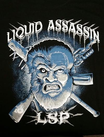 Image of LIQUID ASSASSIN-  MULATTO TALL TEE   Blue and Silver