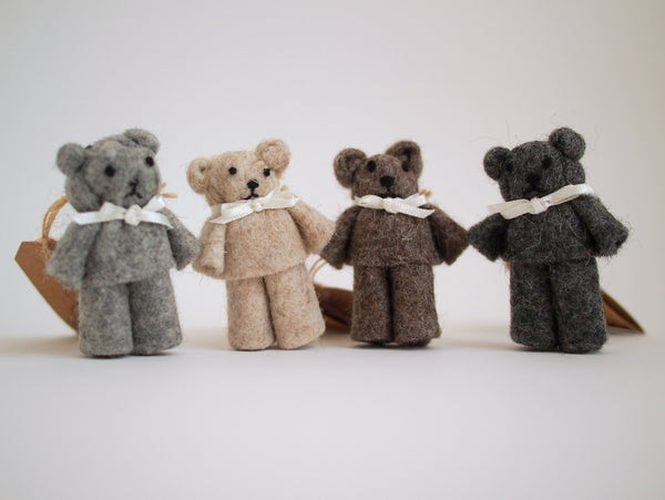 Image of Tiny wool felt teddy bear