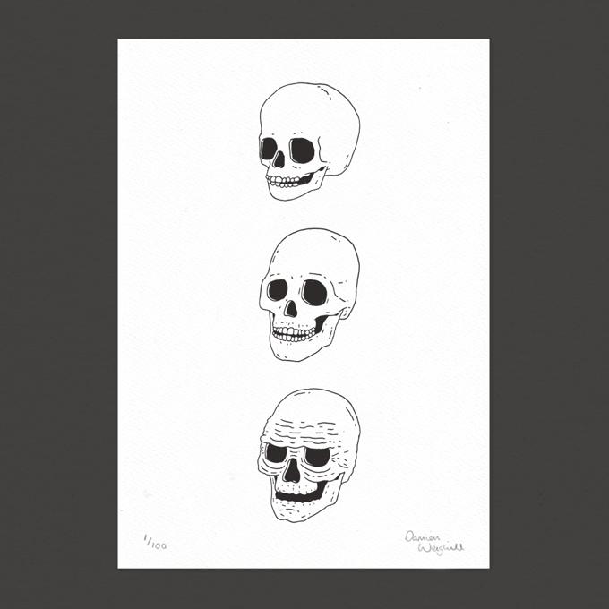 Image of Skulls - Letterpress Print