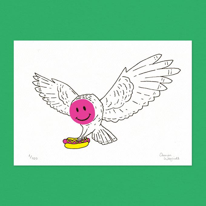 Image of Owl - Letterpress Print