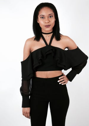 Image of Cold Shoulder Halter Crop