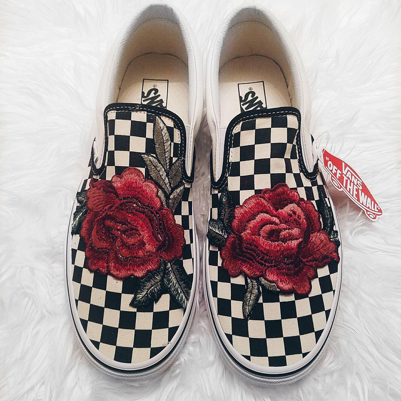 d6bb92ee472 Custom Rose Embroidered Checkered Slip On Vans