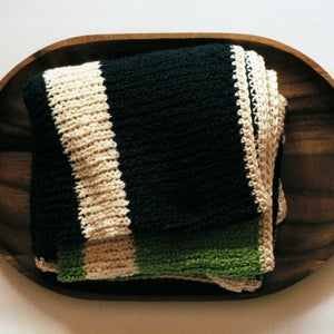 Image of Gossamer Baby Blanket - a modern feather soft blankie for the young ones - Deep Teal & Apple Green