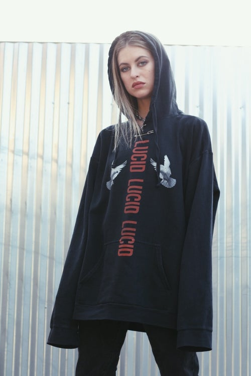 "Image of ""SHINE"" INDUSTRIAL SAFETY PIN HOODIE - BLACK"