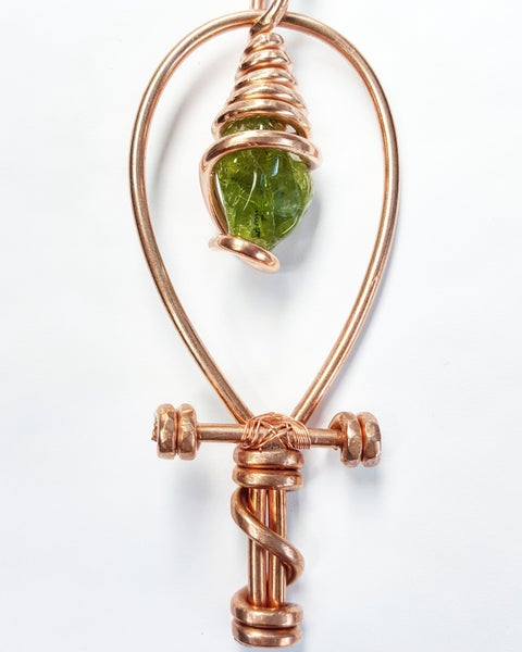 Image of Serpentine Wrapped Peridot Ankh