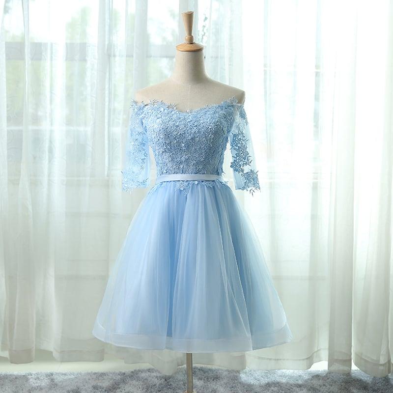 Lovely Light Blue Off Shoulder Lace Appliqué Short Homecoming Dress, Short Prom Dresses 2018