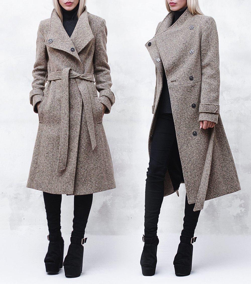 Image of Melange Wool-Blend Coat with Funnel Neck and Belt
