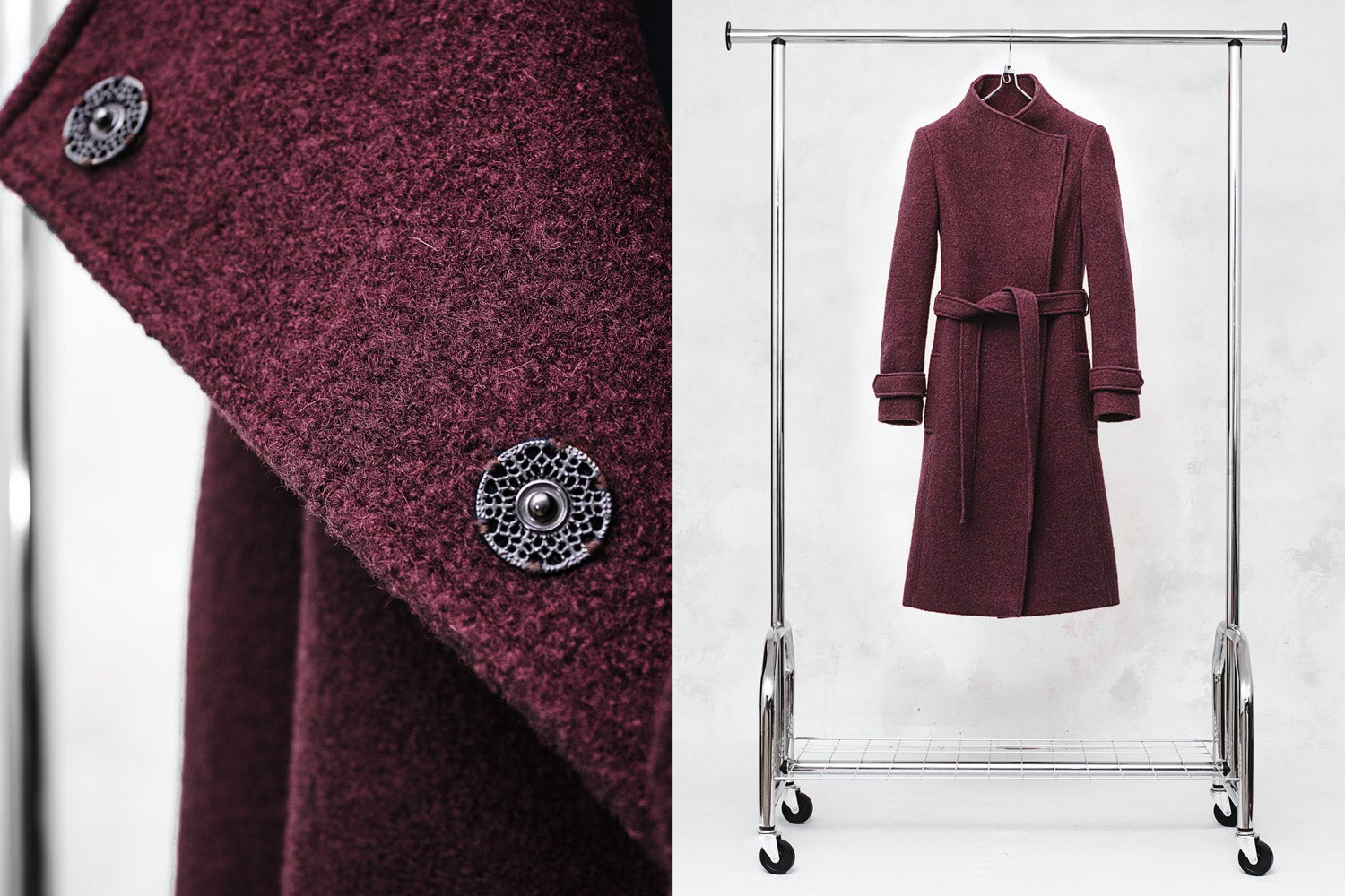 Image of Wine Red Wool-Blend Coat with Funnel Neck and Belt
