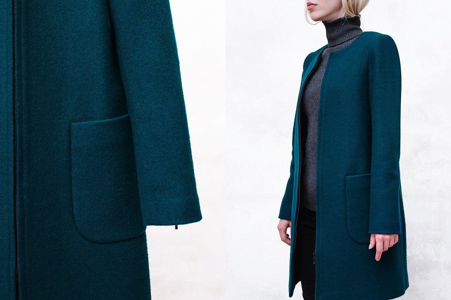 Image of Turquoise Melton Collarless Bomber Coat