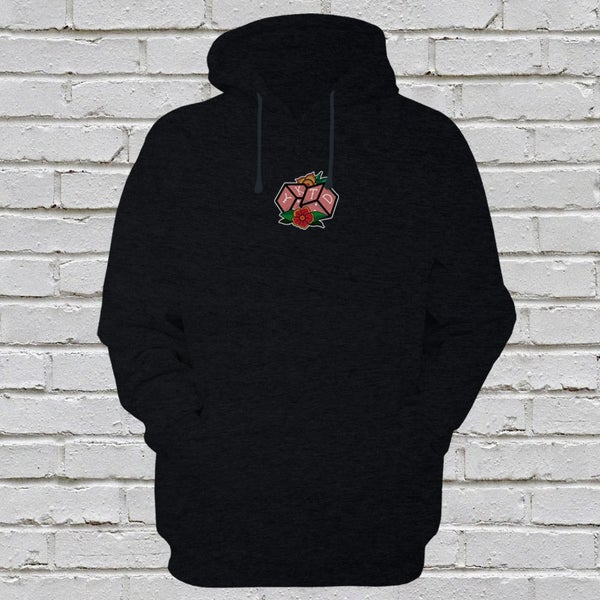 Image of 'Roll The Dice' Embroidered Black Pullover Hoodie