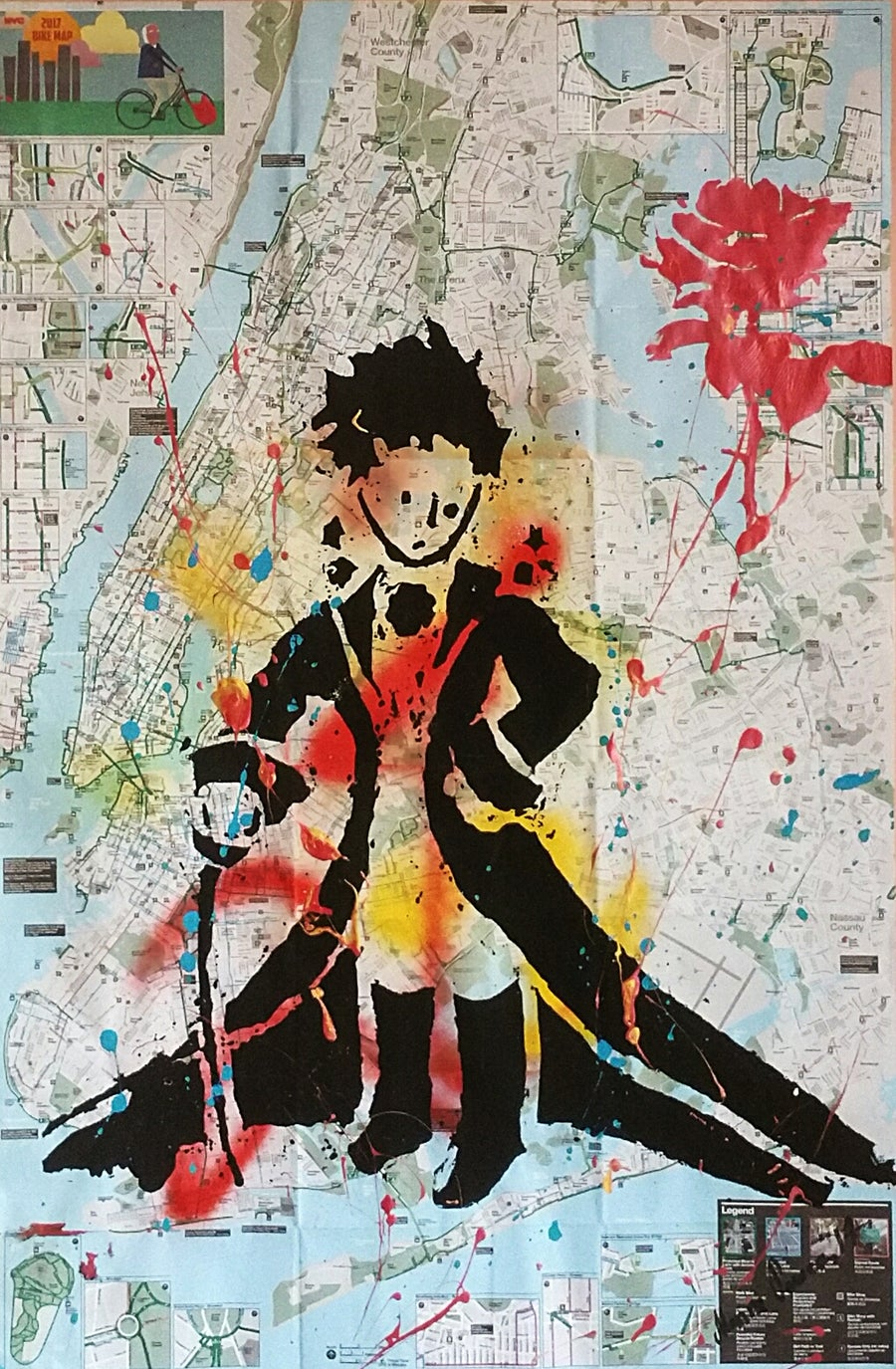 "Image of ""Little Prince."" Original silkscreen on NYC  Bike, Subway Map."