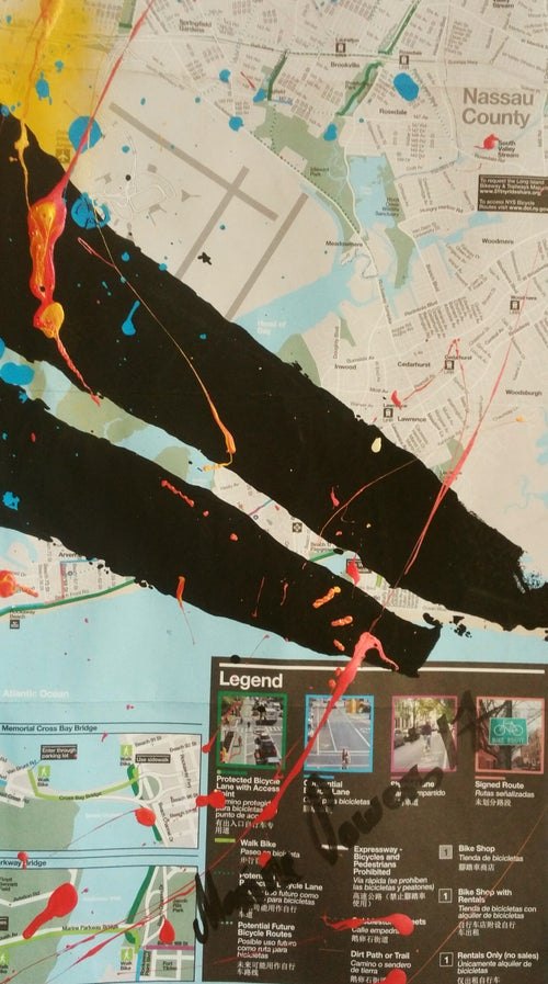 "Image of ""Little Prince."" Original silkscreen on NYC  Bike, Subway Map."
