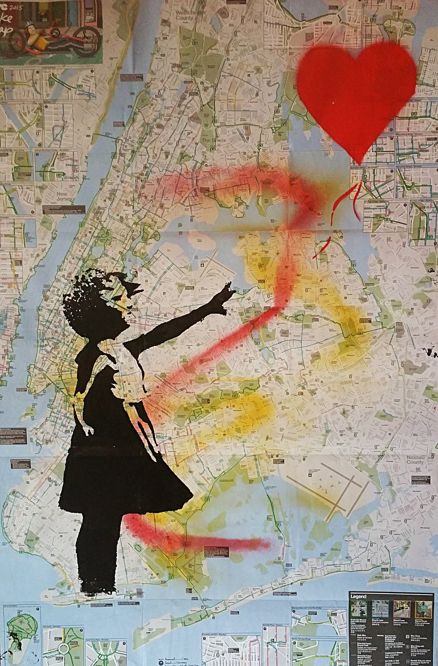 "Image of ""Banksy.""  Silkscreen on New York City Bike Map."