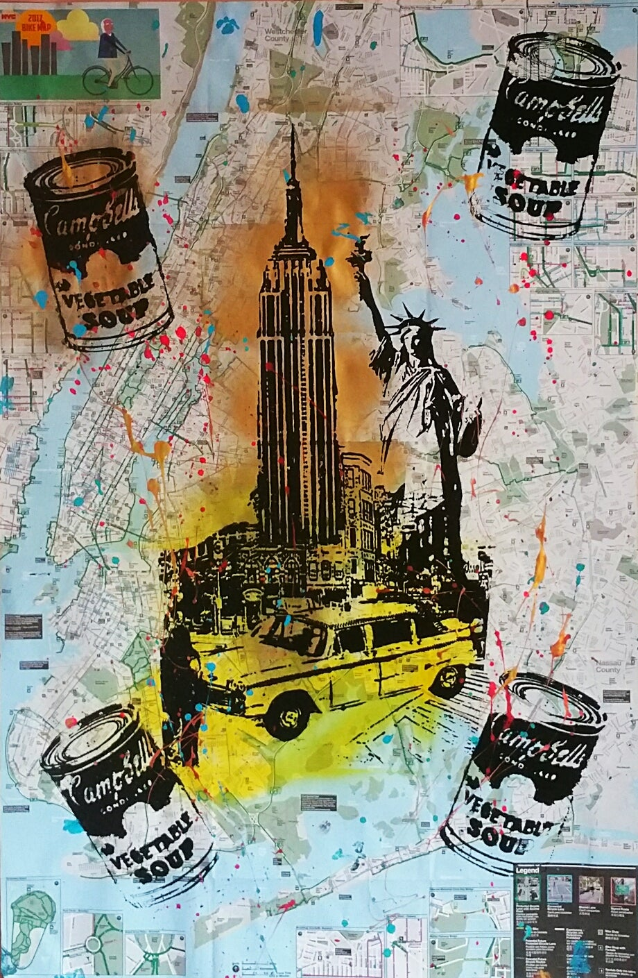 "Image of ""Empire State Building."". Original silkscreen On New York City Bike Map."