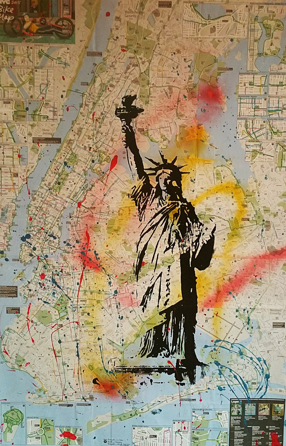 "Image of ""Be Free!"" Original silkscreen on New York City Bike Map."