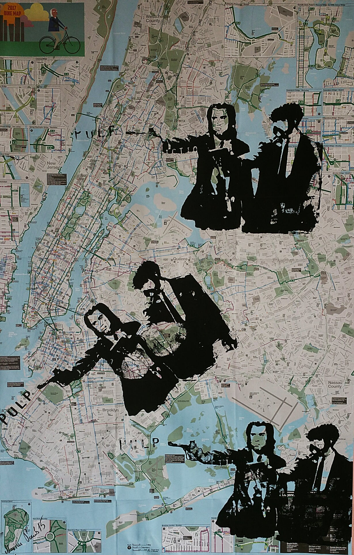 New York Subway Map For Sale.Original Silk Screen Pulp Fiction Artwork On New York City Bike And Subway Maps