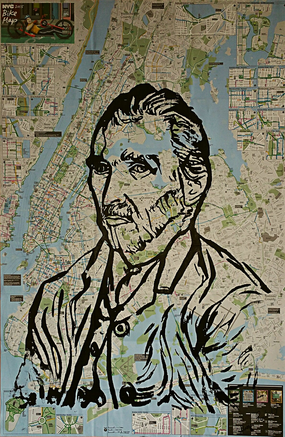 "Image of Original silkscreen on NYC  Bike, Subway maps: ""Van Gogh""."