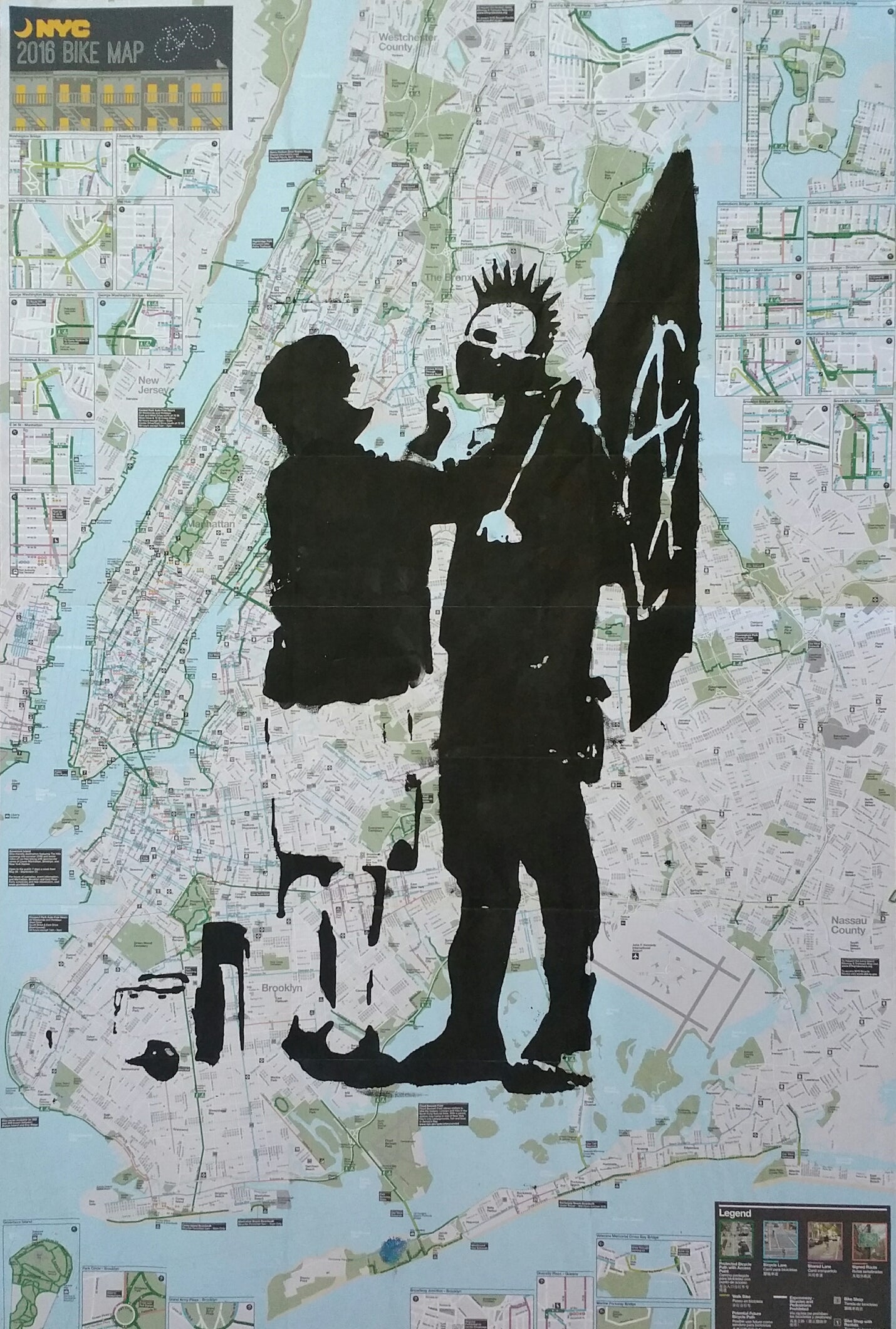Subway Map Bike.Banksy Reproduction Original Silkscreen On A New York City Bike And Subway Map