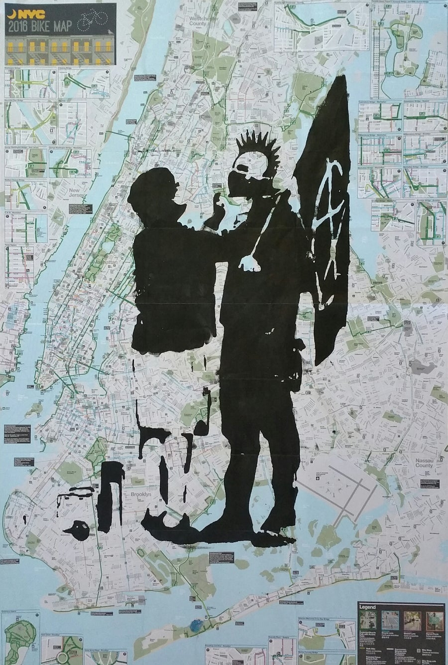 Image of BANKSY REPRODUCTION. ORIGINAL SILKSCREEN ON A NEW YORK CITY BIKE AND SUBWAY MAP.