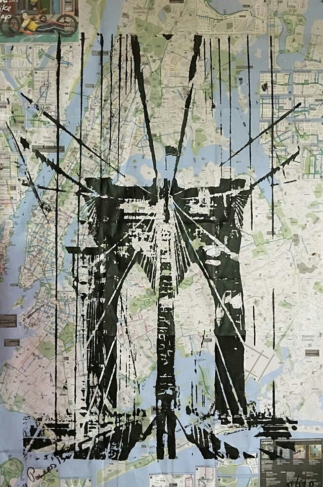 Image of BROOKLYN BRIDGE. ORIGINAL ART ON NEW YORK CITY BIKE AND SUBWAY