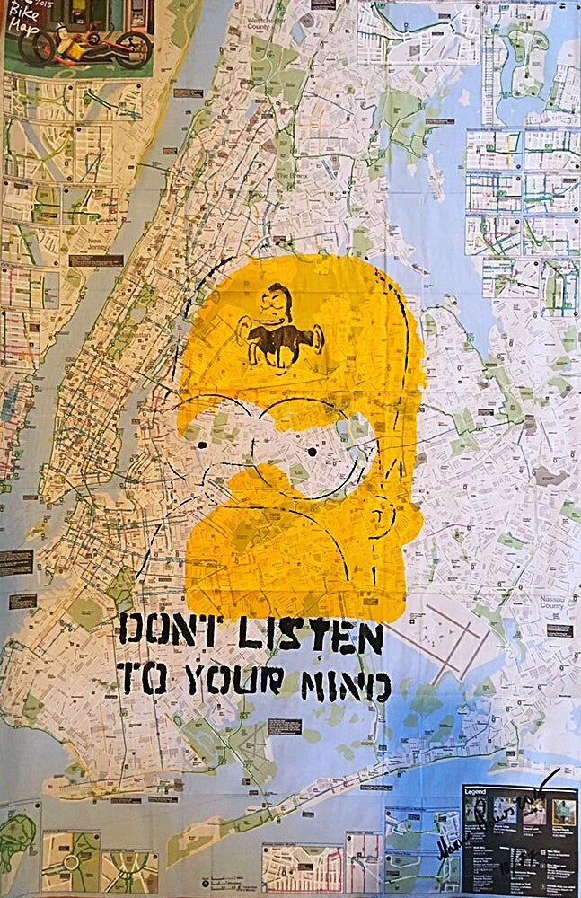 "Image of ""The Simpsons!"" Acrylic on NYC Bike Map."