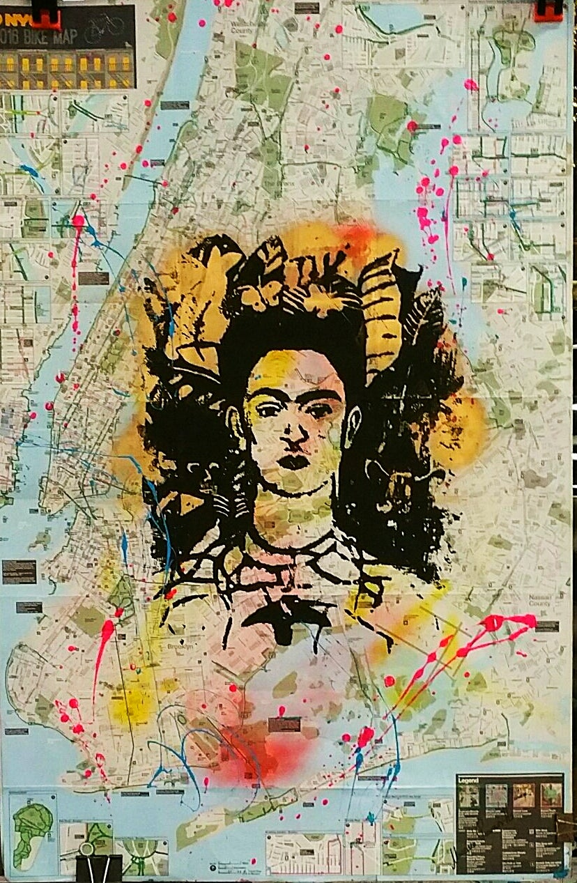 Image of FRIDA KAHLO. ORIGINAL SILKSCREEN  on a NYC Bike Map.