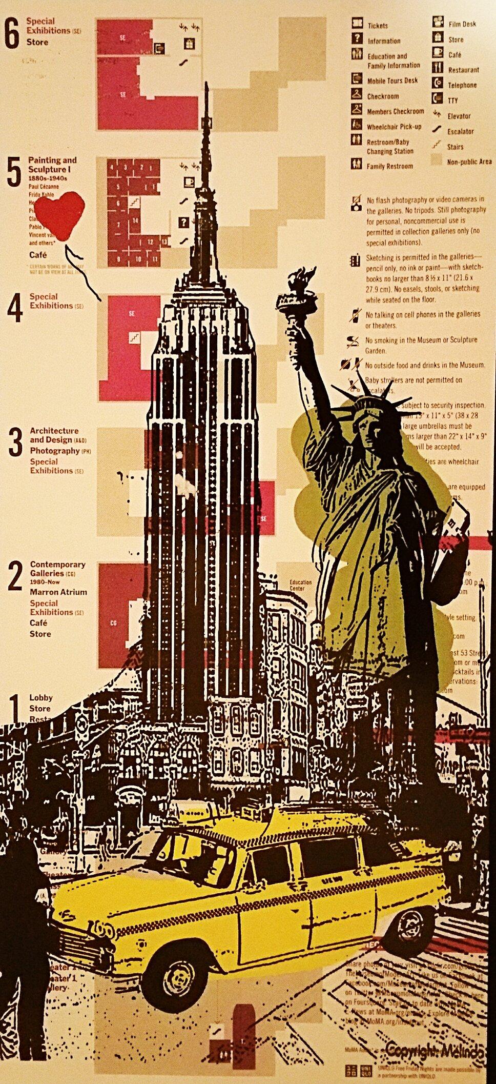"Image of Original artwork on New York City MoMa Map. (Museum Of Modern Art). ""Empire State""."