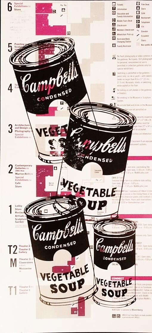 "Image of Original artwork on New York City MoMa Map. ( Museum Of Modern Art) ""Cammbell''s Soup""."