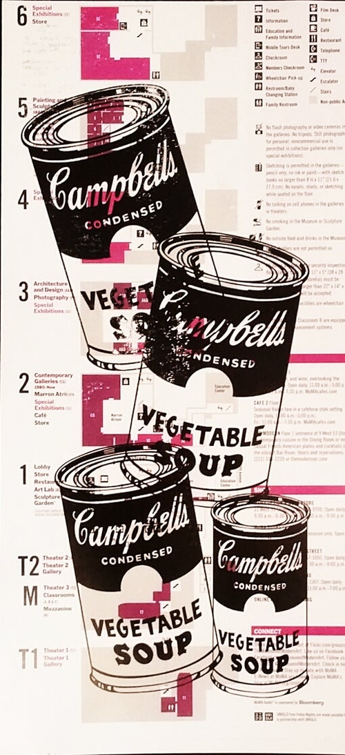 "Image of ""Andy Warhol"" Original Print on Museum Of Modern Art Map."