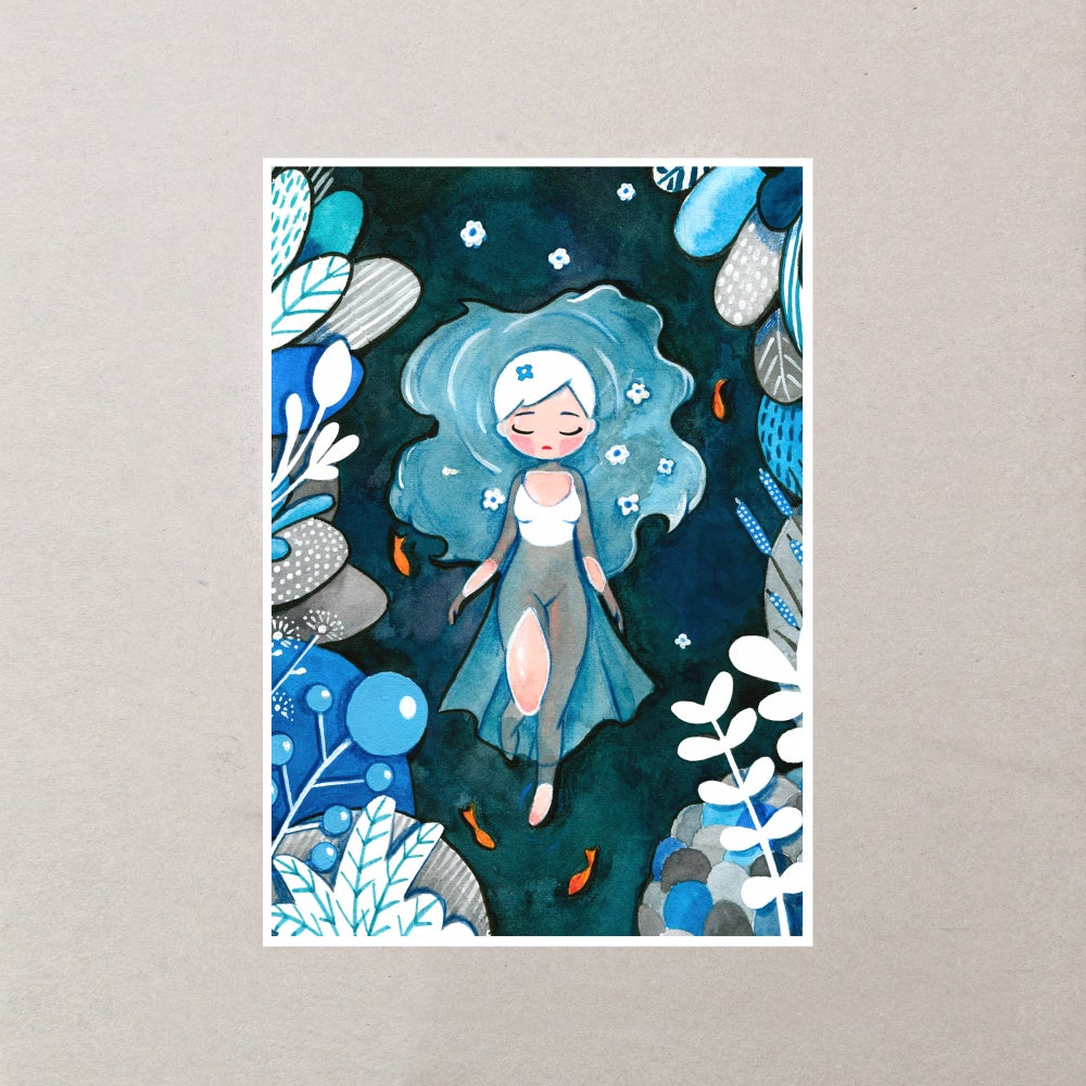 Image of OPHELIA - LADY OF THE LAKE ILLUSTRATION PRINT A5