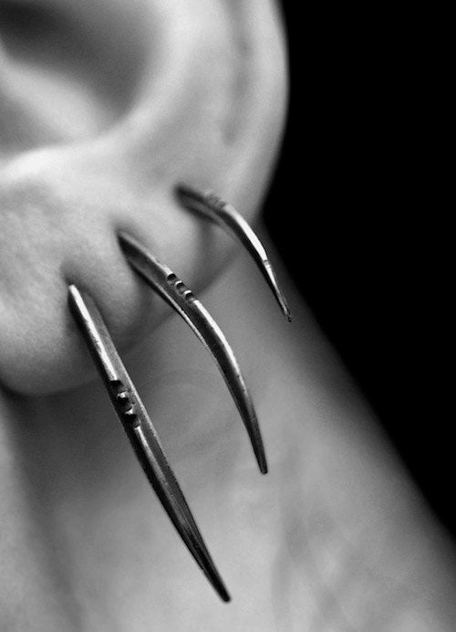 Image of TRIS: Scythe statement earrings, set of 3, sterling silver