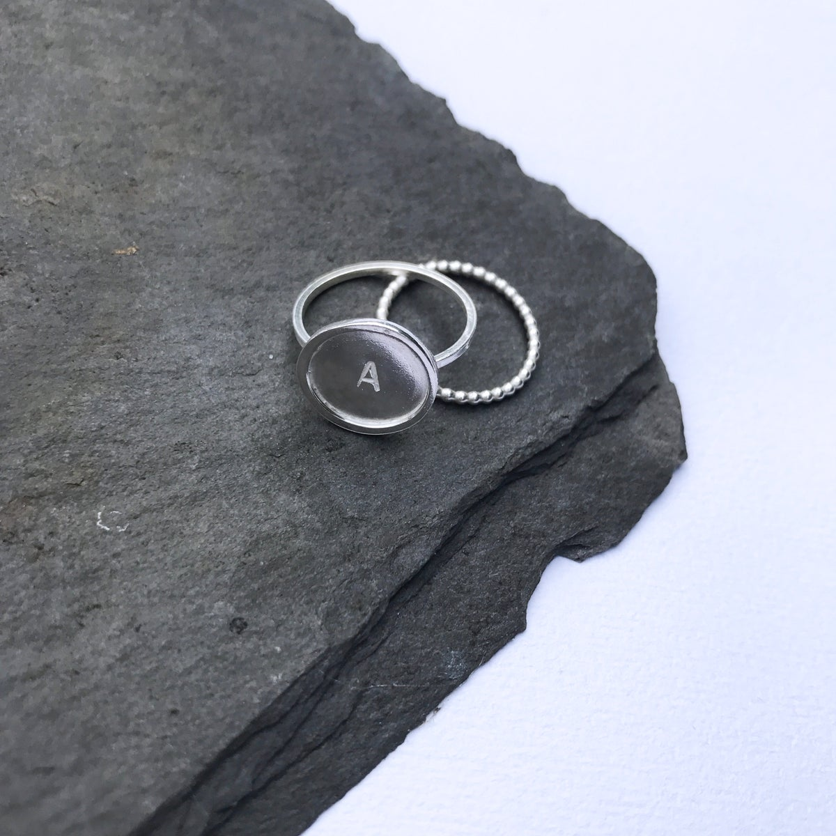 Image of Personalised Initial Silver Ring