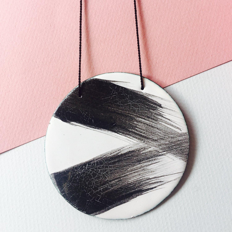 Image of Brush stroke pendant in white large
