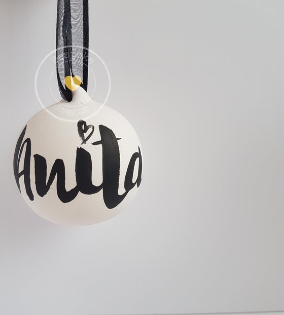 Image of Personalised Christmas Bauble (Brush Lettering)