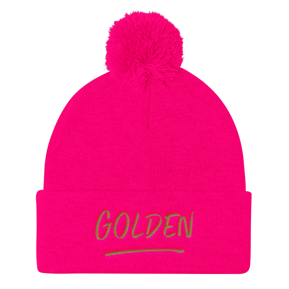 Image of Golden Pom Pom Knit Beanie