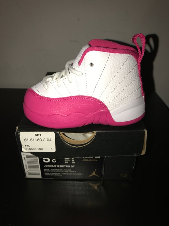 "Image of Air Jordan 12 Retro ""Dynamic Pink"" (Crib Toddlers & Gradeschool)"