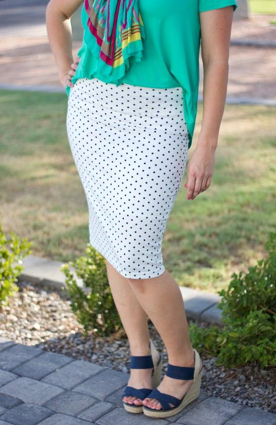 Image of White & Navy Polka Dot Skirt