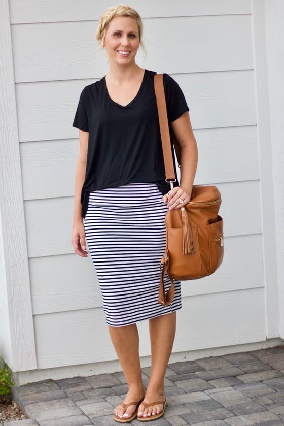 Image of White & Black Stripe skirt