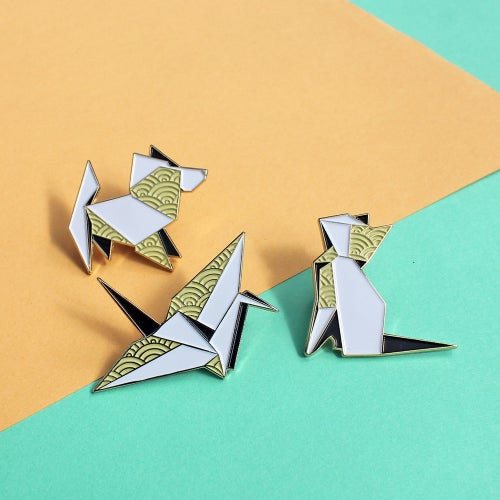 Image of Origami Crane, enamel pin - 'Origaminals' - lapel pin
