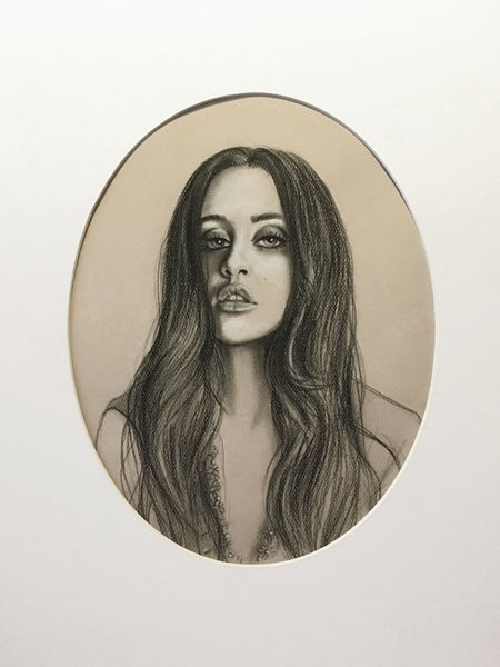 Image of Marti Jean in Necklace Study - Matted Drawing