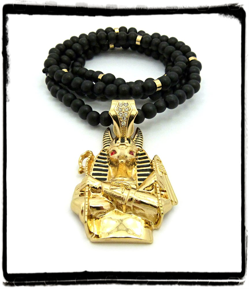 Image of GOLD-ANPU-BLACK-BEAD-CHAIN