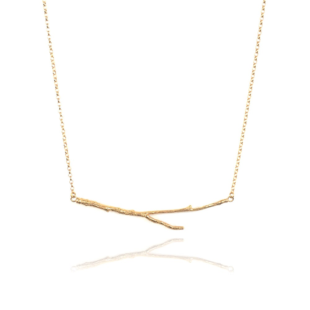 Image of Gold horizontal twig necklace